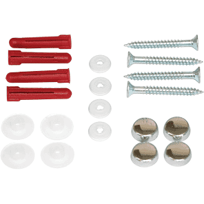 HIB  - Drilled Mirror Fixing Kit - 4 Screws, Raw Plugs, Spacers & Screw Tops